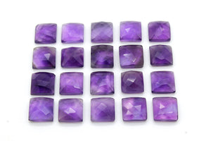 Amethyst Square Shape Natural Cabochon Purple Loose Stone 4mm 6mm 8mm 12mm