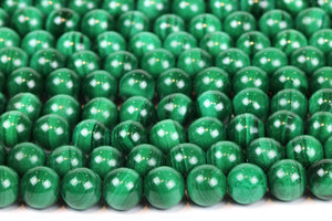 Malachite Natural Gemstone Beads Round Smooth 4mm Loose DIY Gem Jewelry Making