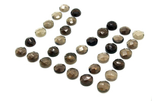 Round Natural AA Faceted Cabochon Smoky Quartz Gemstone Birthstone DIY Jewelry