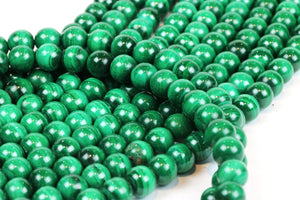 Smooth Malachite AA Natural Beads Gemstone Round Green Loose Jewelry Making 6mm