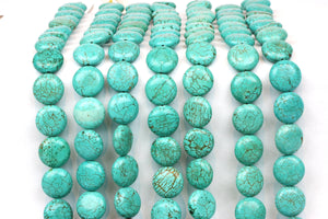Turquoise Coin Beads Natural Magnesite Loose Spacer Gemstone 10mm 16mm Wholesale