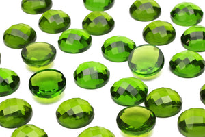 Peridot Gemstone Faceted Cabochon Lab Created Jewelry Supply August Birthstone