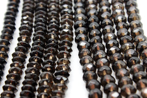 Natural Smoky Quartz Gemstone Rondelle Loose Beads Jewelry Making Bulk Sale