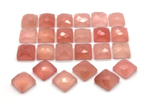 4x4mm Pink Chalcedony Cabochon Loose Natural Square Faceted Gemstone DIY Jewelry