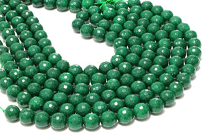 Faceted Round Jade Beads Natural Gemstone Loose DIY Jewelry Supplies Wholesale