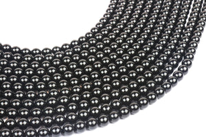 "8mm 16"" Strand Natural Black Smooth Onyx Gemstone Large Loose Beads Bulk Sale"