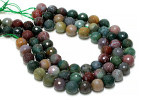Natural Fancy Jasper Beads 8mm Loose Faceted Round Gemstone DIY Jewelry Supply
