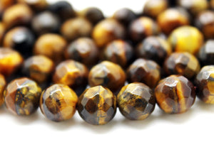 Natural Tiger Eye 8mm Beads Faceted Loose Spacer Gemstone Jewelry Making Supply