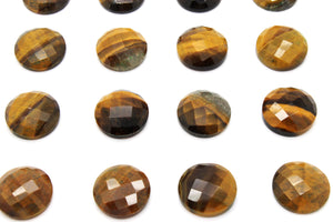 8mm Round Tiger Eye AA Gemstone Natural Loose Faceted Cabochon Jewelry Making