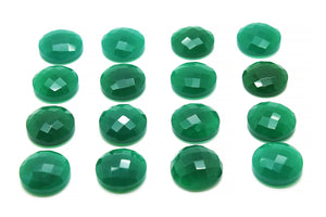 Natural 6mm Round AA Green Onyx Gemstone Faceted Cabochon Crystal Jewelry Making