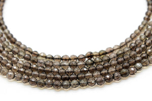 Smoky Quartz Faceted 2mm Tiny Beads Loose Round Gemstone Jewelry Making Beadwork