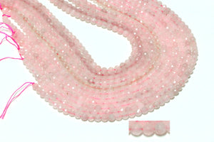 3mm Tiny Rose Quartz Faceted Round Loose Gemstone Beads Wholesale DIY Jewelry