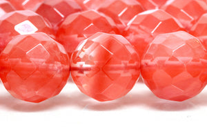 Faceted Cherry Quartz Beads 8mm Round Loose Spacer Gemstone DIY Jewelry Supply