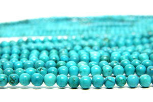 Turquoise Magnesite Natural Smooth Loose Round Spacer Gemstone Beads DIY Jewelry