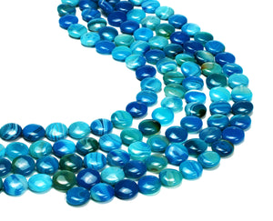 "16mm Blue Madagascar Smooth Round Loose Coin Beads 16"" Strand Bulk DIY Jewelry"