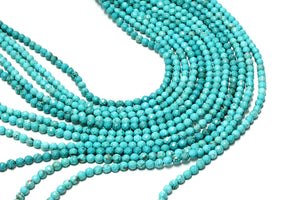 Magnesite Turquoise Faceted Loose Natural Round AA Beads DIY Gemstone Wholesale
