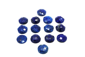 Navy Blue Natural Lapis Lazuli Loose Checker Cut Faceted Cabochon Jewelry Making