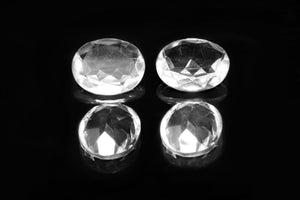 Small Natural Oval Crystal Clear Quartz Faceted Cabochon DIY Loose Bulk Gemstone