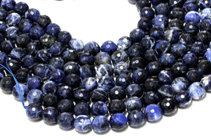 Sodalite Beads Natural Loose Blue Round Faceted Bulk Gemstone 4mm Jewelry Making