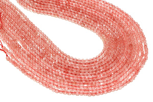 "12mm Cherry Quartz Beads 16"" Strand Loose Faceted Round Gemstone Jewelry Supply"