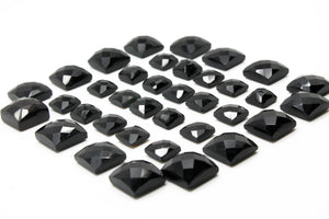 Loose Natural Calibrated Faceted Black Onyx Square Cabochon Gemstone Checker Cab