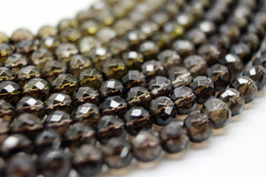 3mm Natural Smoky Quartz Tiny Round Brown Loose Faceted Gemstone Beads Bulk Sale
