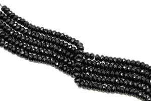 Black Onyx Rondelle Beads Faceted Loose Spacer Gemstone Jewelry Supply Wholesale