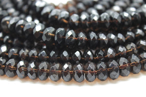 2x4mm Small Natural Smoky Quartz Loose Spacer Gemstone Bulk Beads Jewelry Making