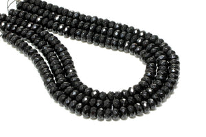 Large Black AA Onyx Rondelle Beads Faceted Loose Gemstone Jewelry Making Supply