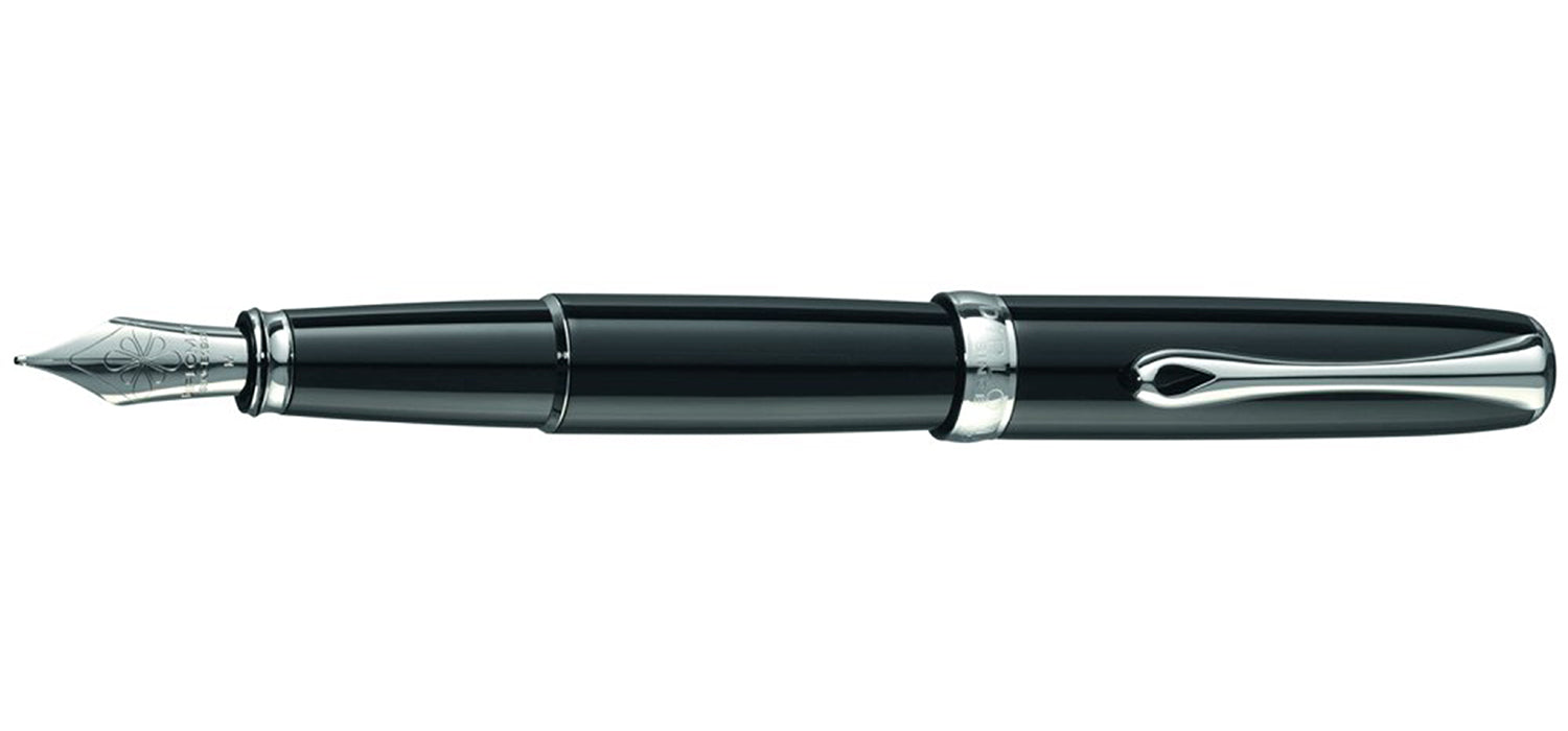 Diplomat EXCELLENCE A2 BLACK LACQUER CHROME TRIM FOUNTAIN PEN FP