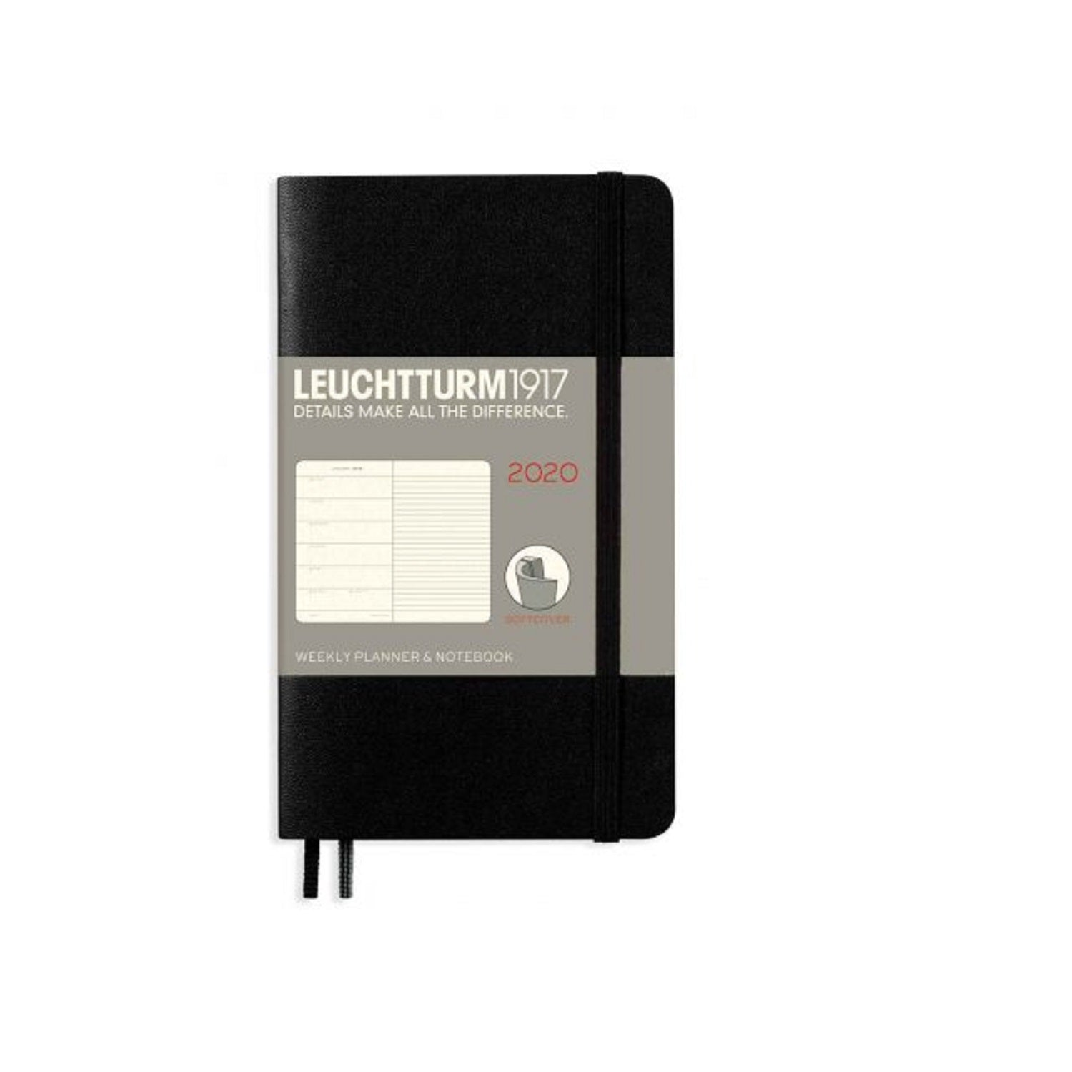 LEUCHTTURM 359961 A6 2020 SOFTCOVER WEEKLY PLANNER AND NOTEBOOK BLACK