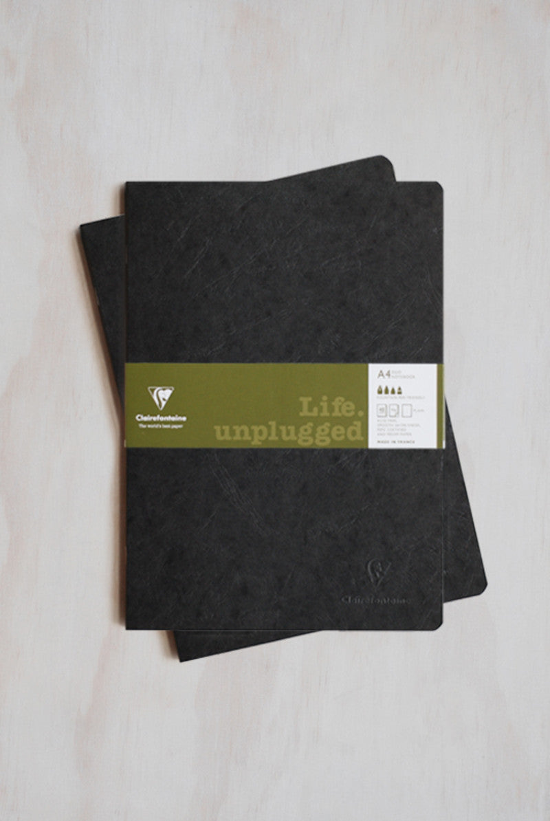 Clairefontaine A4 Life Unplugged Stapled Twin Set Plain Black