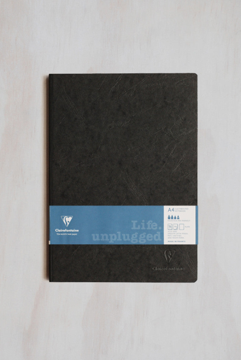 Clairefontaine A4 Life Unplugged Clothbound Plain Black