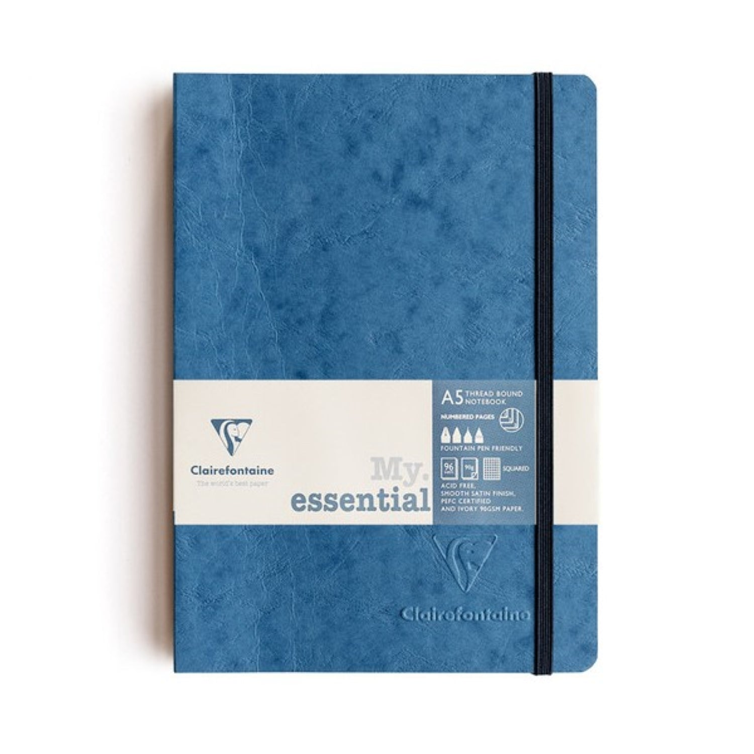 Clairefontaine Essentials Notebook Thread Bound A5 Grid - Blue