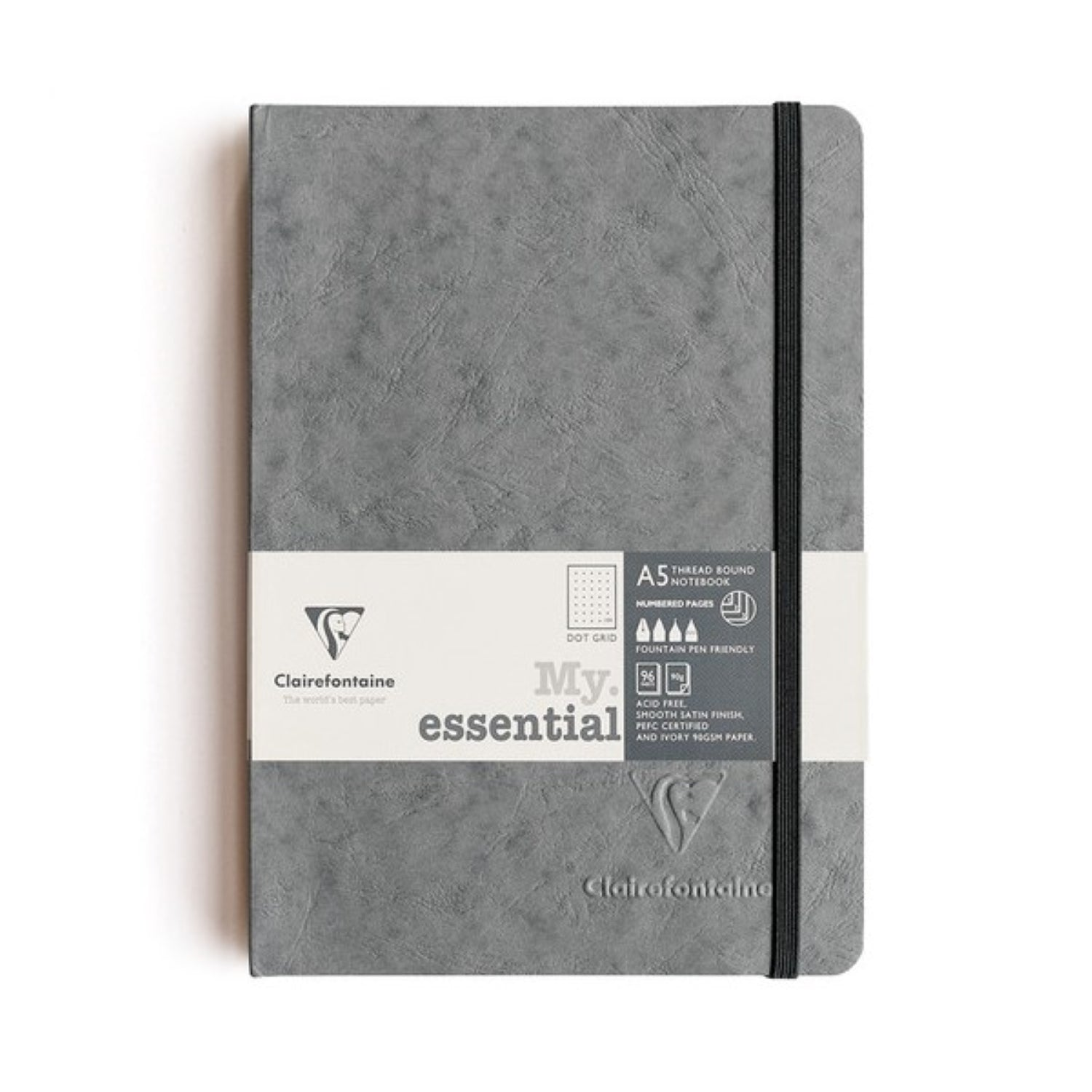 Clairefontaine Essentials Notebook Thread Bound A5 Dot Grid - Grey
