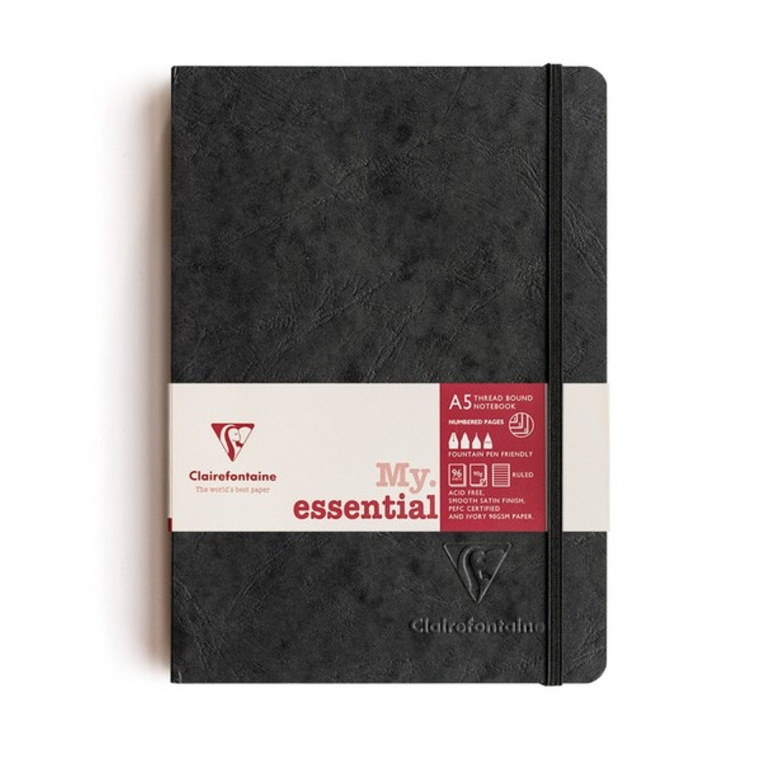 Clairefontaine Essentials Notebook Thread Bound A5 Lined - Black