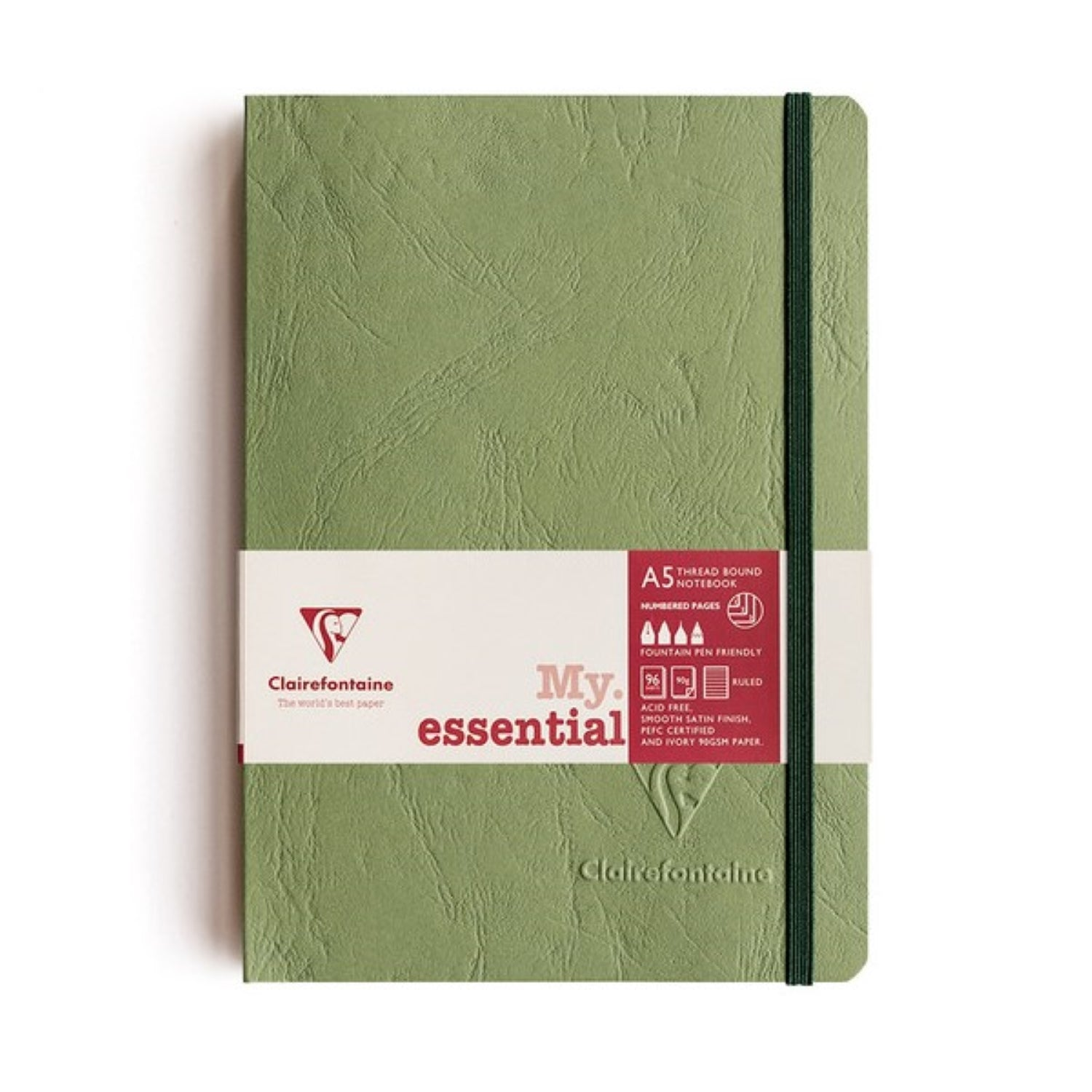 Clairefontaine Essentials Notebook Thread Bound A5 Ruled - Green