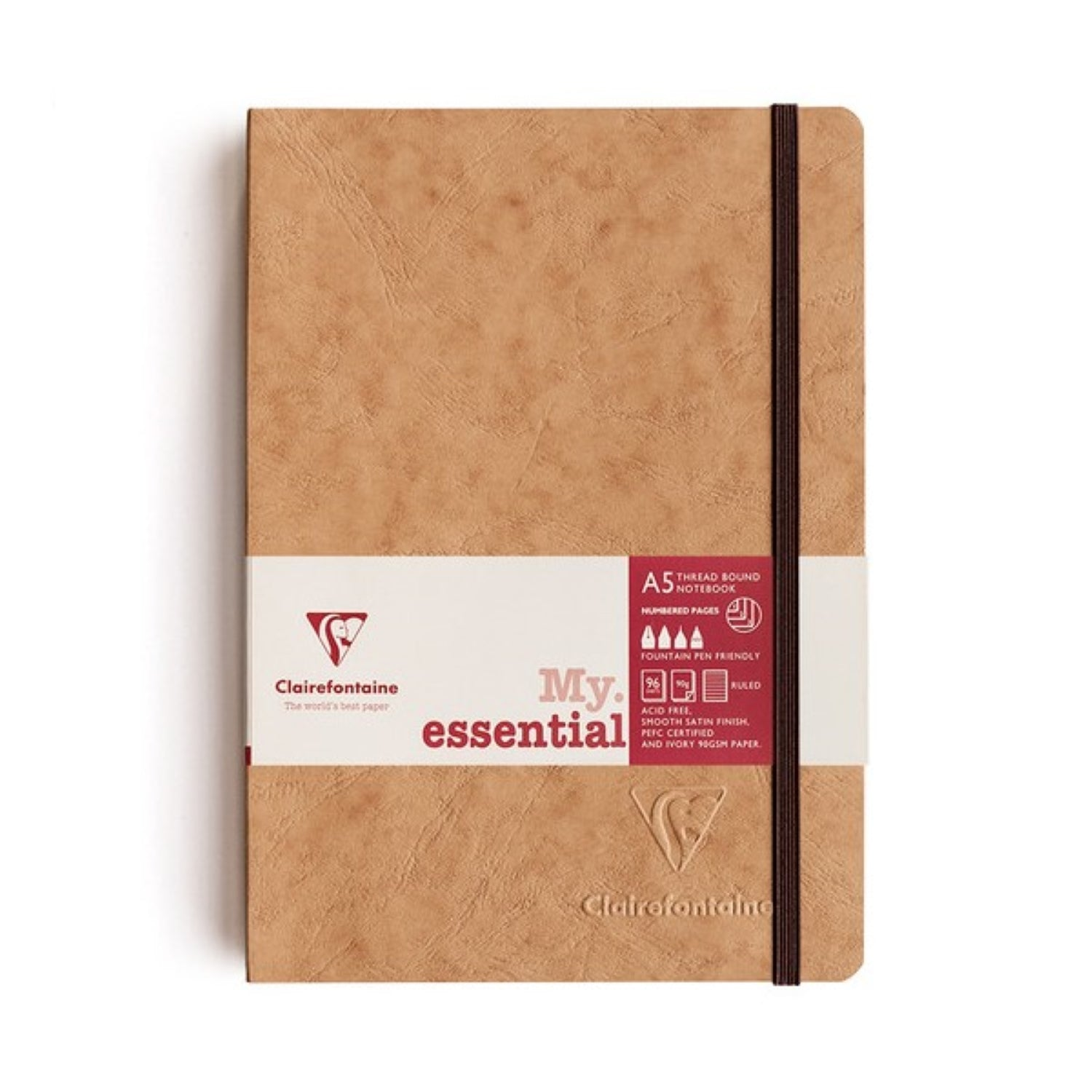 Clairefontaine Essentials Notebook Thread Bound A5 Lined - Tobacco
