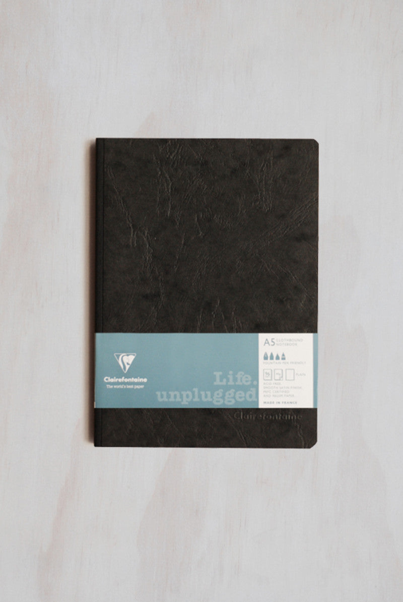 Clairefontaine Life Unplugged Clothbound A5 Plain Black