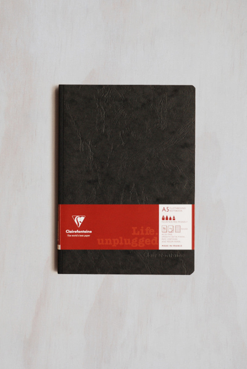 Clairefontaine Essentials Notebook Clothbound A5 Lined - Black