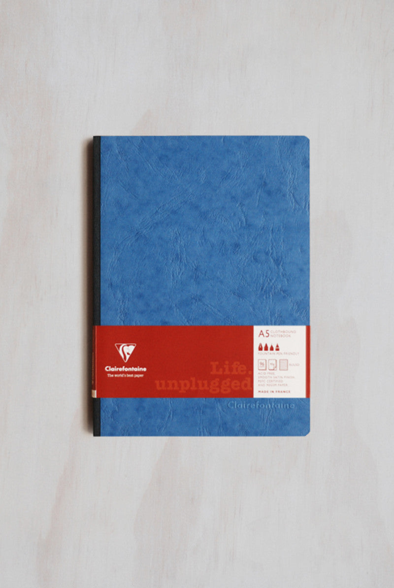 Clairefontaine Life Unplugged Clothbound A5 Lined Blue