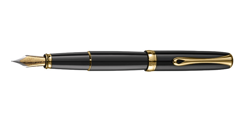 Diplomat EXCELLENCE A2 BLACK LACQUER GOLD TRIM FOUNTAIN PEN FP