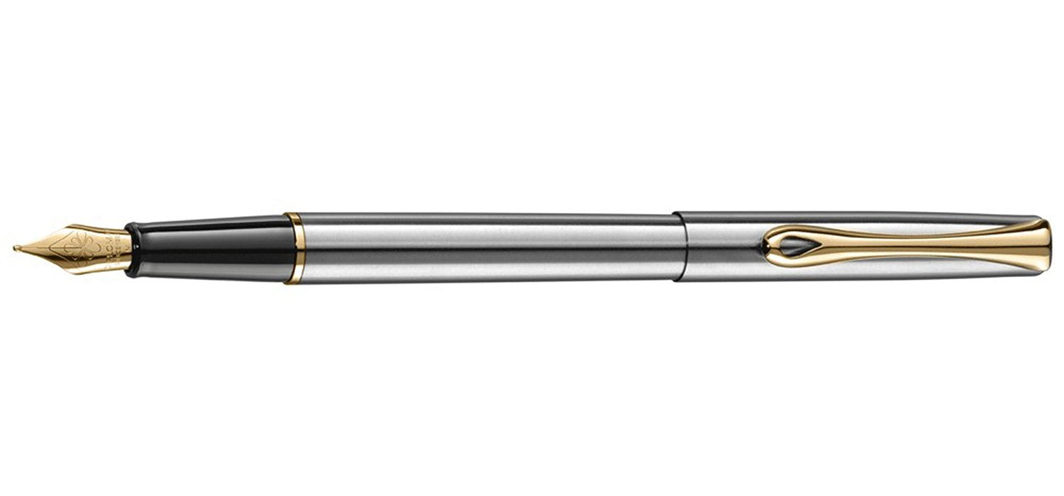 Diplomat TRAVELLER STAINLESS / GOLD TRIM Fountain Pen FP