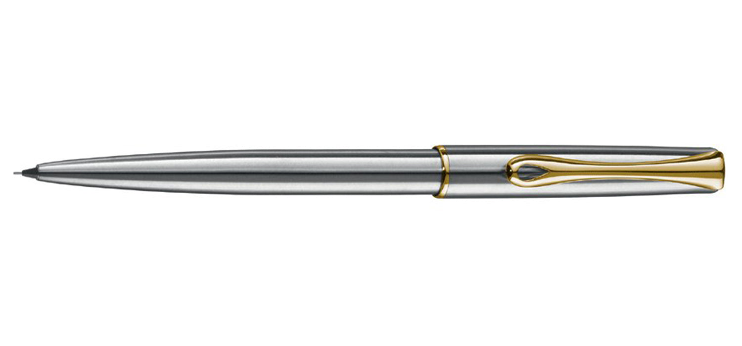 Diplomat TRAVELLER STAINLESS / GOLD TRIM Mechanical Pencil MP 0.5mm