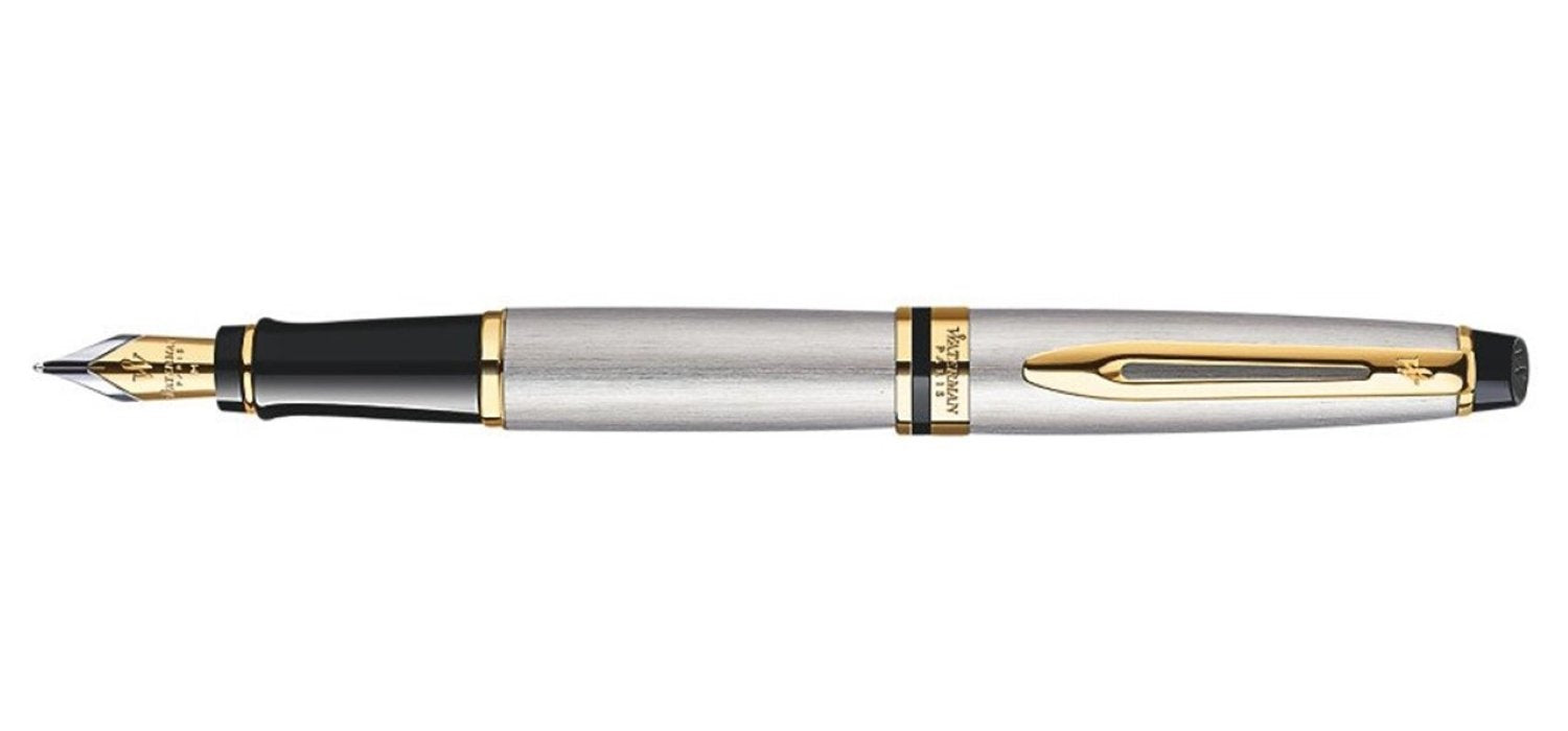 Waterman Expert Stainless Steel Gold Trim FP