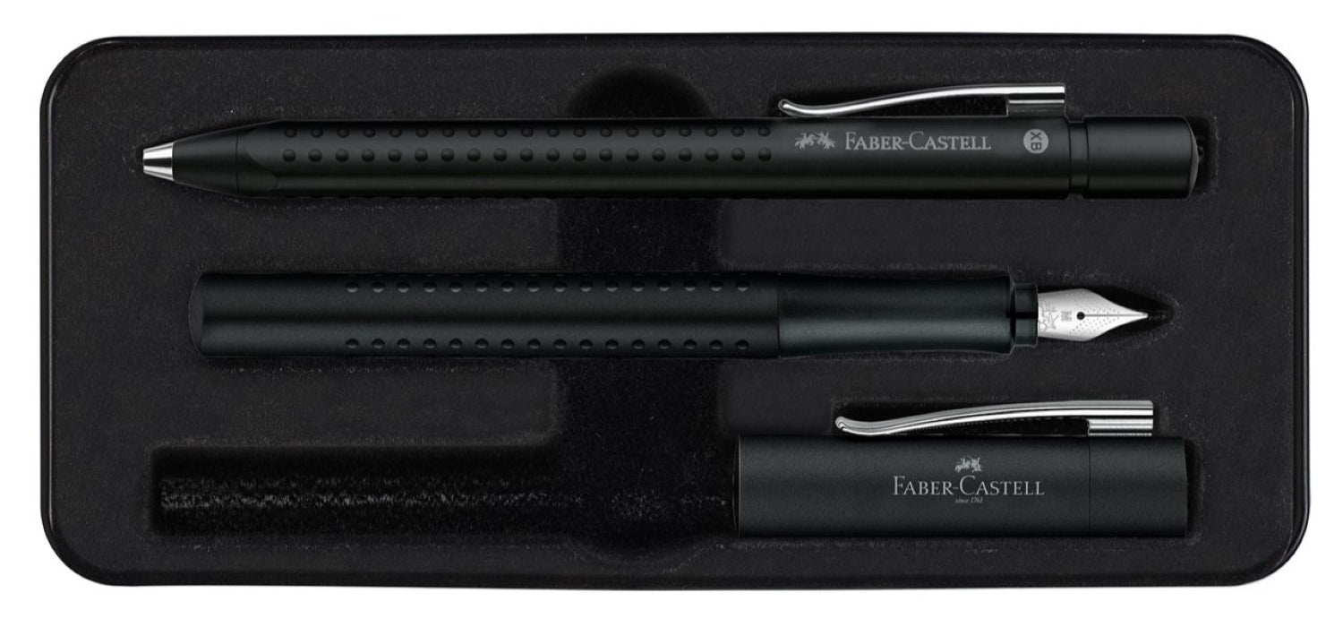 Faber Castell Design Grip 2011 Black Fountain Pen and Ballpoint Set