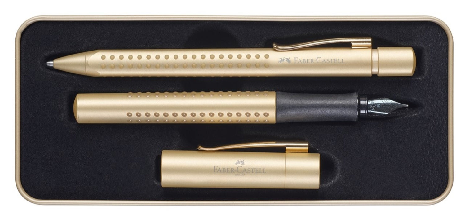 Faber Castell Design Grip 2011 Gold Fountain Pen and Ballpoint Set