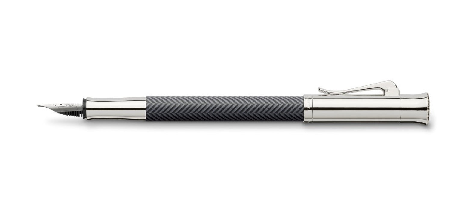 Graf Von Faber Guilloche Anthracite FP Fountain Pen M GVFC