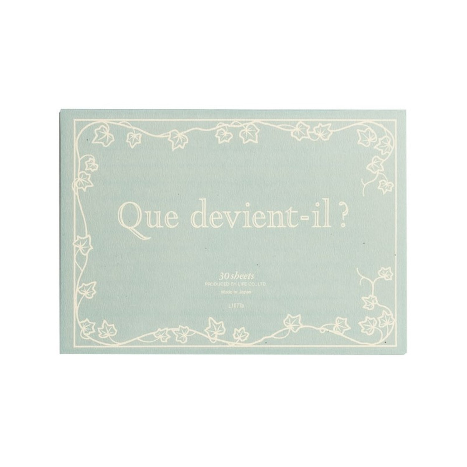 LIFE STATIONERY - JAPANESE PAPER QUE DEVIENT-IL? WRITING PAD - HORIZONTAL LINES - A5 - GREY