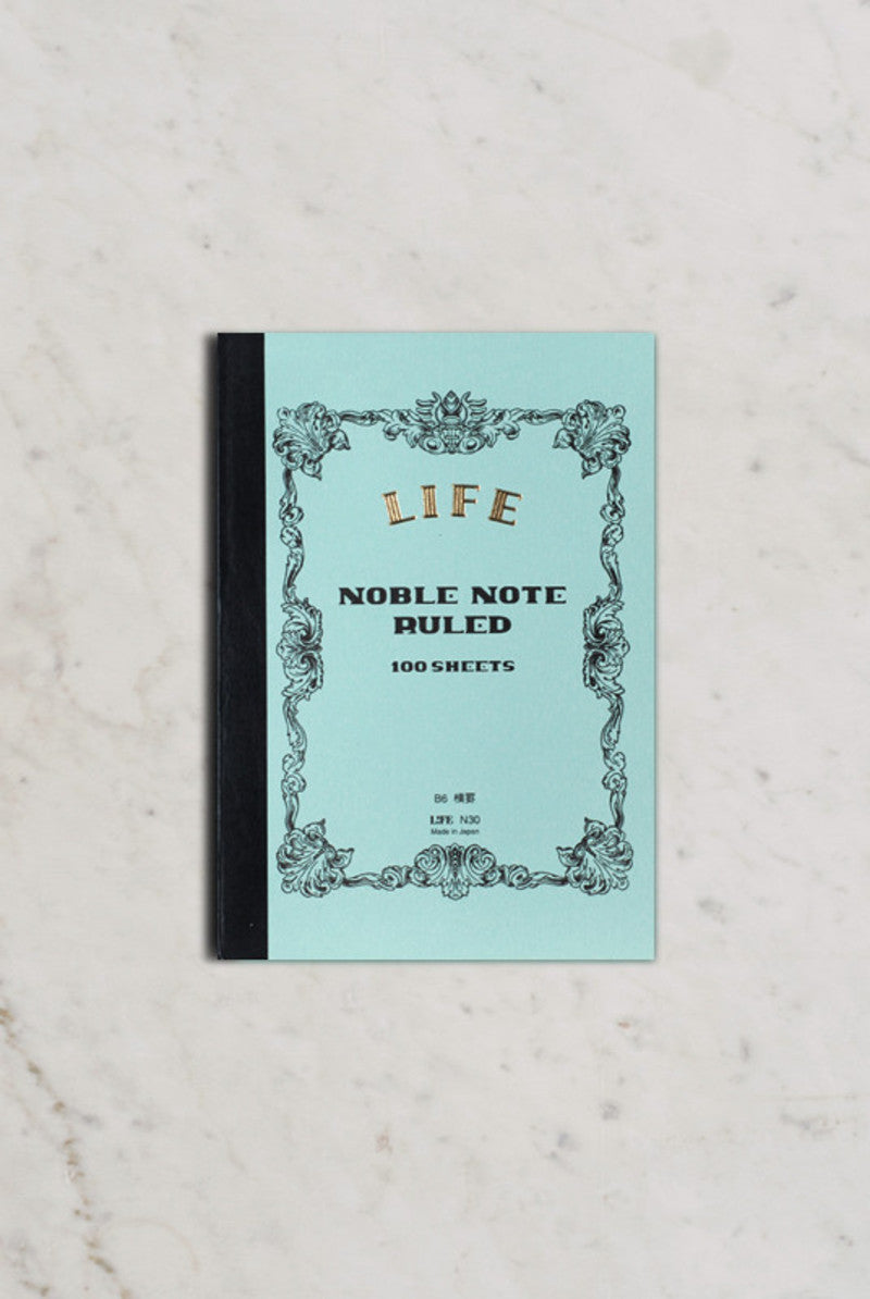 Life Stationery Japanese Paper Noble Note Notebook B6 13x18cm Ruled Light Blue